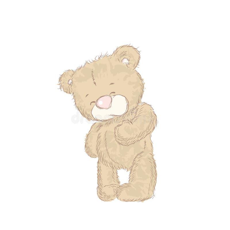 Śliczny niedźwiedź rysował ręką Mały Niedźwiadkowy wektor niedźwiadkowy śmieszny royalty ilustracja