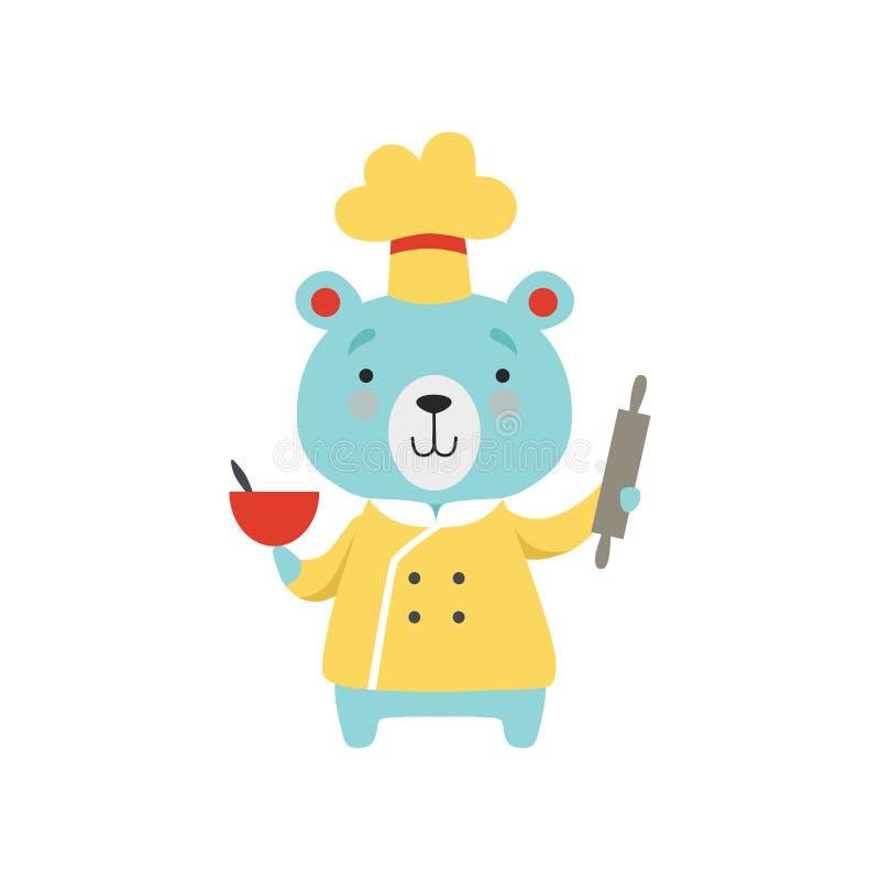 Śliczny niedźwiedź trzyma tocznej szpilki i pucharu w szefa kuchni mundurze, kreskówka zwierzęcego charakteru kulinarna wektorowa royalty ilustracja