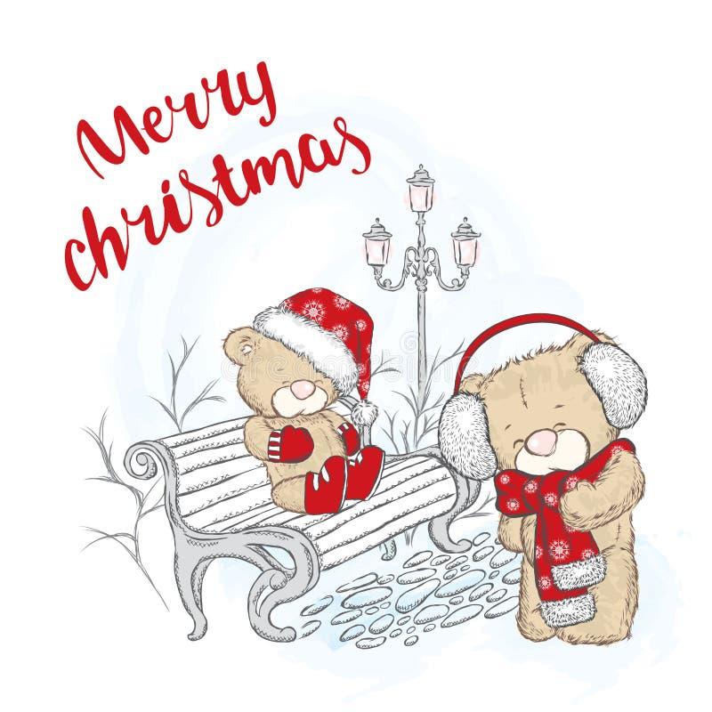 Śliczny niedźwiedź w nakrętce i szaliku chłopiec wakacji lay śniegu zima Bożenarodzeniowy i Nowy Yea ilustracja wektor