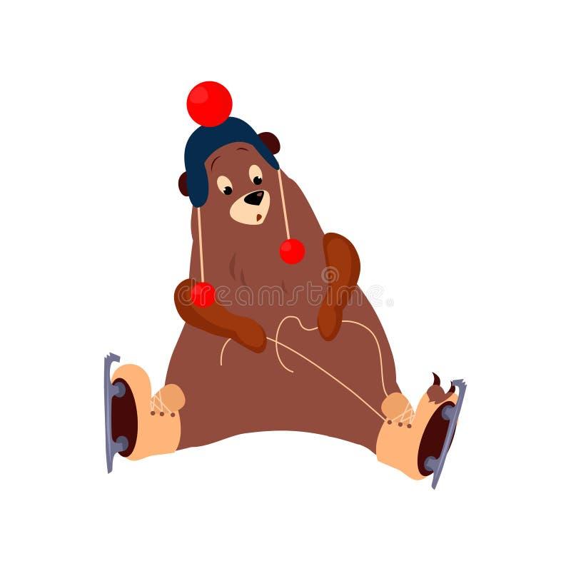 Śliczny niedźwiedź Wiąże koronki na łyżwach wektor royalty ilustracja