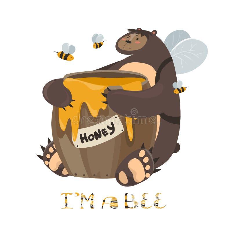 Śliczny niedźwiedź z baryłką miód royalty ilustracja