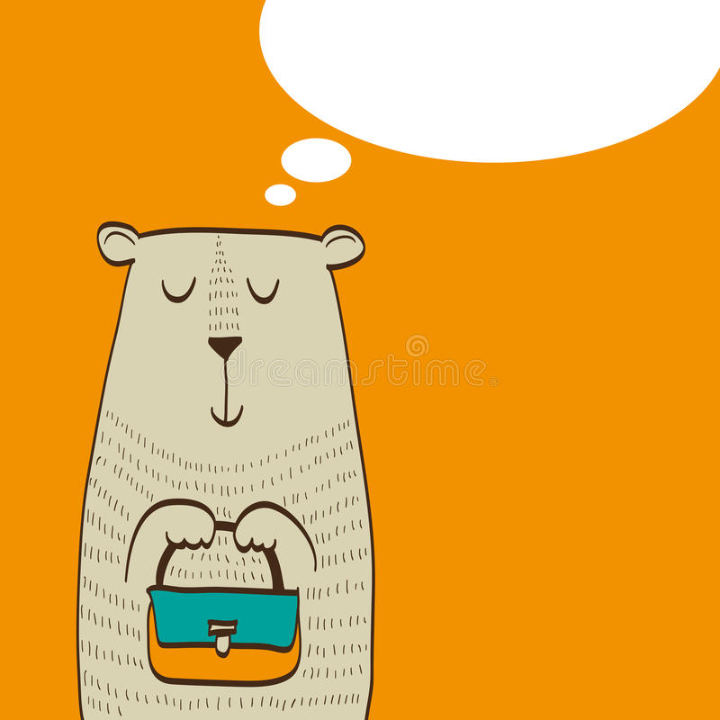 Śliczny niedźwiedź z torbą w jego łapa sen zakupy royalty ilustracja