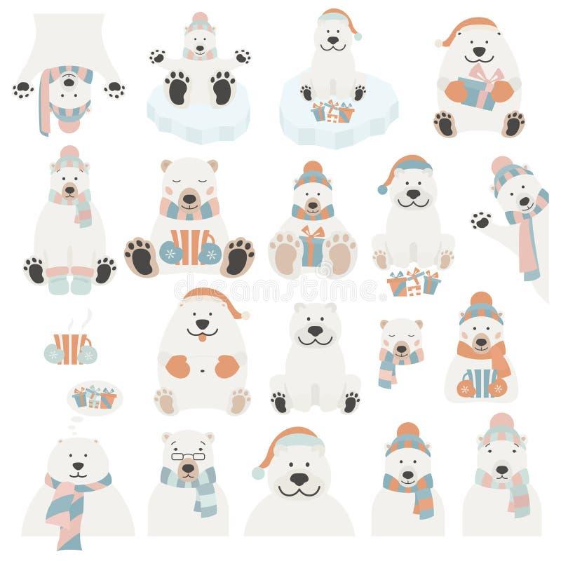 Śliczny niedźwiedzia polarnego majcheru set Elementy dla boże narodzenie wakacje gree royalty ilustracja
