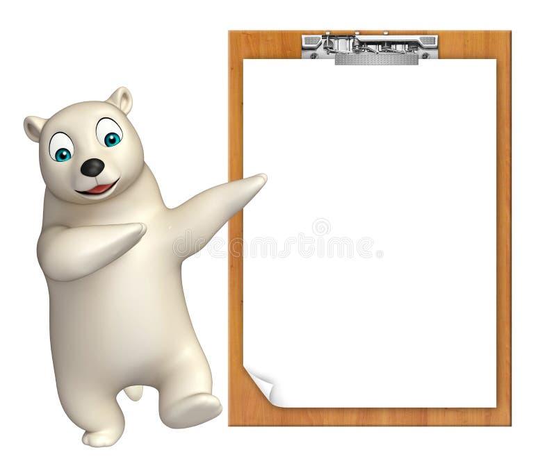 Śliczny niedźwiedzia polarnego postać z kreskówki z egzaminu ochraniaczem ilustracji