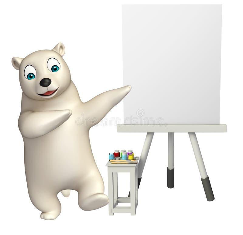 Śliczny niedźwiedzia polarnego postać z kreskówki z sztalugi deską ilustracja wektor