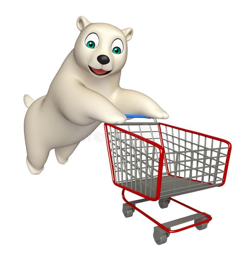 Śliczny niedźwiedzia polarnego postać z kreskówki z trolly ilustracja wektor