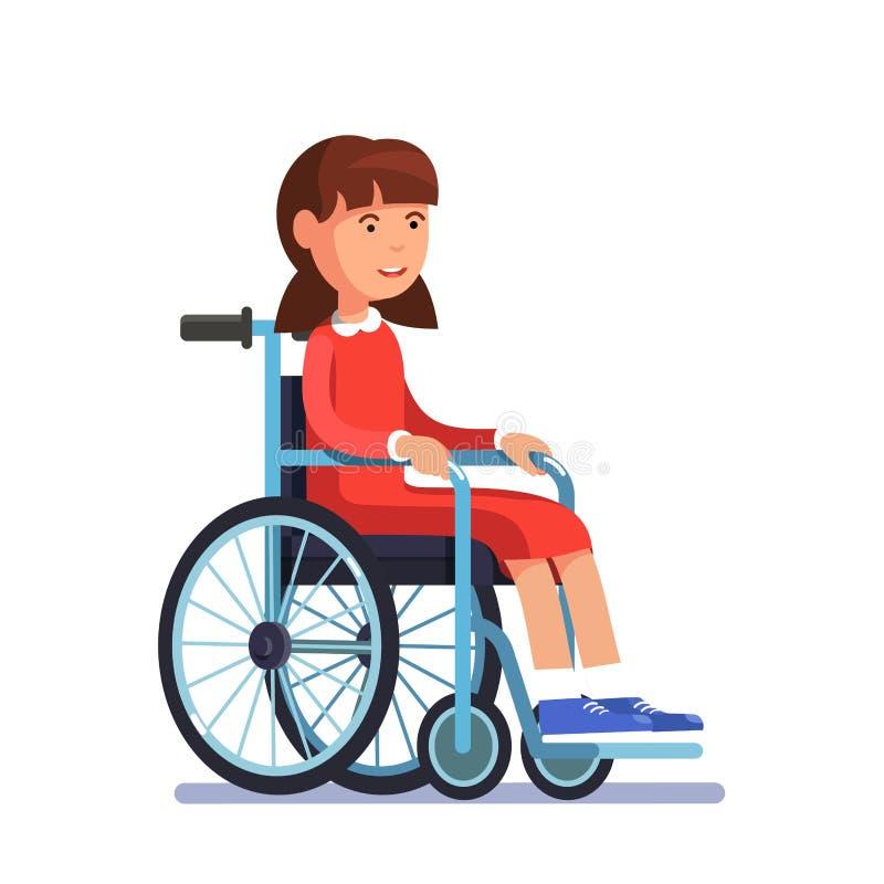 Śliczny niepełnosprawny dziewczyna dzieciaka obsiadanie w wózku inwalidzkim ilustracji