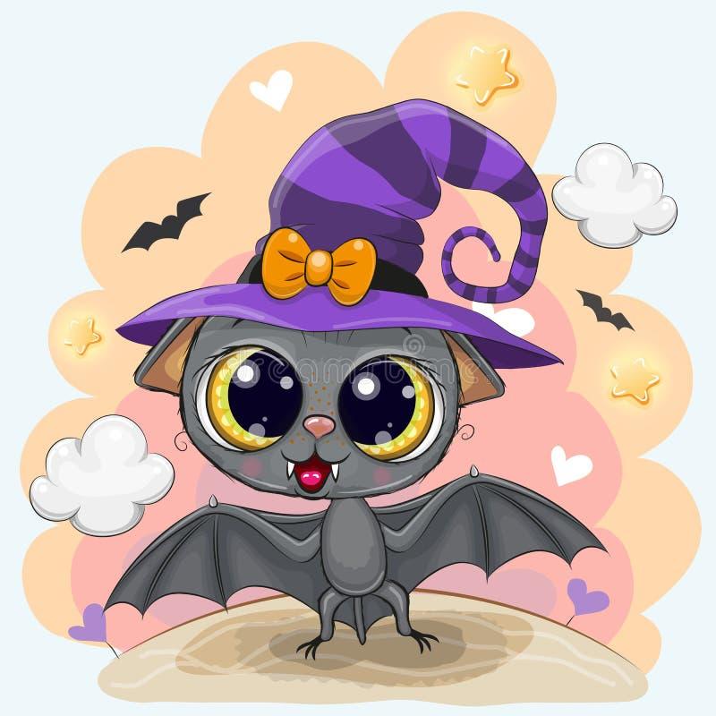 Śliczny nietoperz w Halloween kapeluszu ilustracji