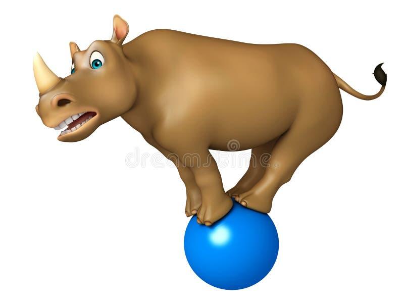 Śliczny nosorożec postać z kreskówki z futbolem royalty ilustracja