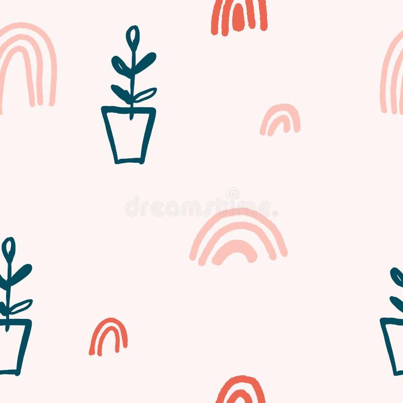 Śliczny nowożytny abstrakcjonistyczny rocznika wzór w scandinavian stylu Pastelowa pepiniery tapeta z prostymi kształtami Wektor  ilustracji