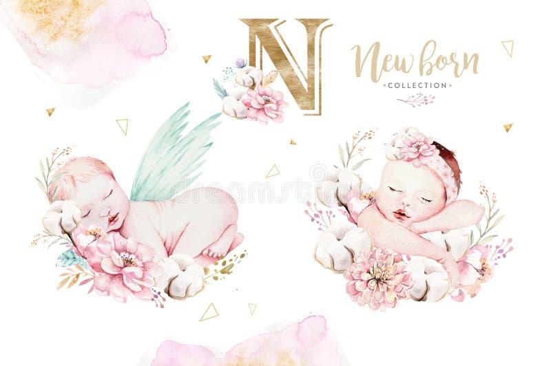 Śliczny nowonarodzony akwareli dziecko Nowonarodzonego dziecka chłopiec i dziewczyny ilustracyjny obraz Dziecko prysznic odosobni ilustracja wektor