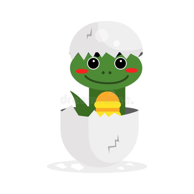 Śliczny nowonarodzony zielonego dinosaura charakter, śmieszny gad w jajecznej kreskówki ilustraci royalty ilustracja