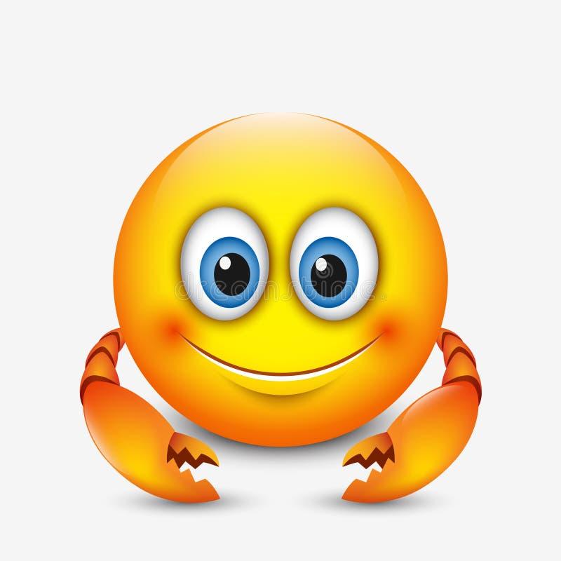 Śliczny nowotworu emoticon, emoji horoskop wektorowa ilustracja - astrologiczny znak - zodiak - royalty ilustracja