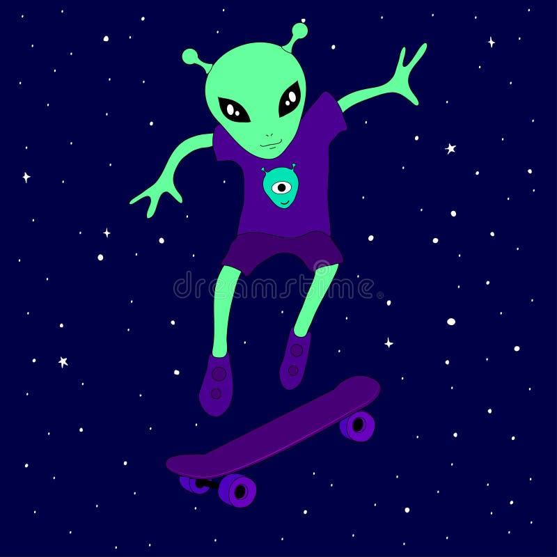 Śliczny obcy istota nastolatka łyżwiarstwo w przestrzeni na deskorolka wśród gwiazd na błękitnym tle ilustracja wektor