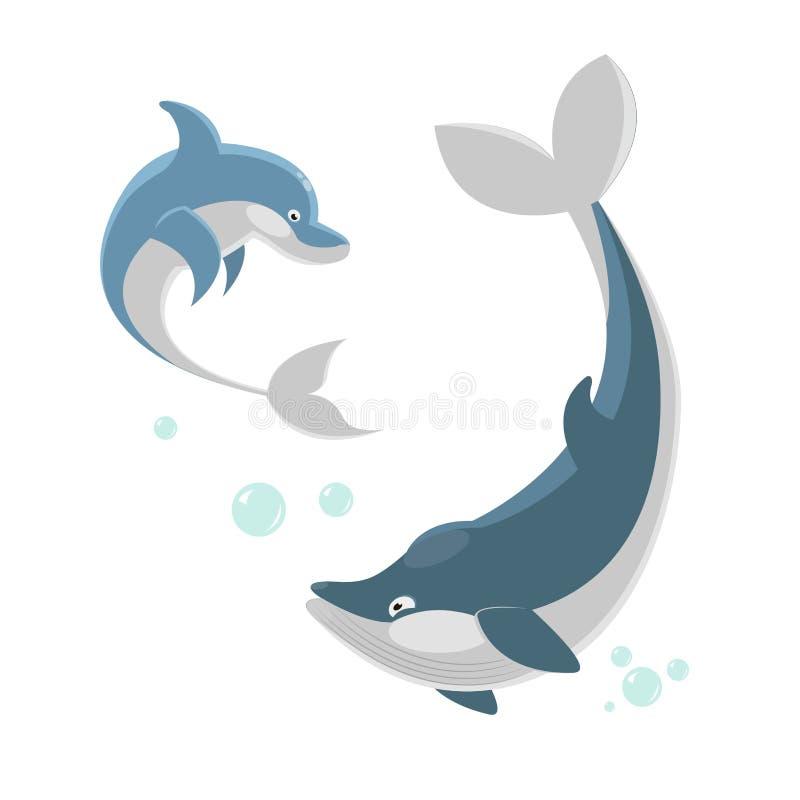 Śliczny ocaenic wieloryb i morze delfin odizolowywaliśmy ilustrację ilustracji