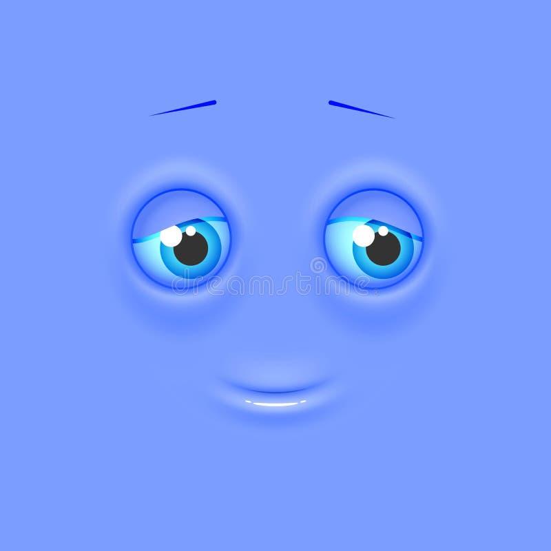 Śliczny osamotniony ocieniony emoji na mieszkanie kwadrata tle ilustracji