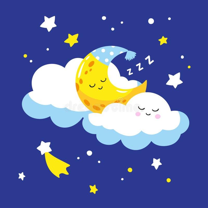 Śliczny półksiężyc dosypianie na chmurze ilustracja wektor