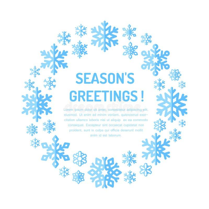 Śliczny płatka śniegu plakat, sztandar bożych narodzeń składu chłodno zielony powitań wakacje ornamentuje fotografii teraźniejszo ilustracji