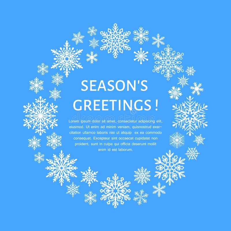 Śliczny płatka śniegu plakat, sztandar Season& x27; s powitania Płaskie śnieżne ikony, opad śniegu Ładni płatki śniegu dla boże n ilustracja wektor
