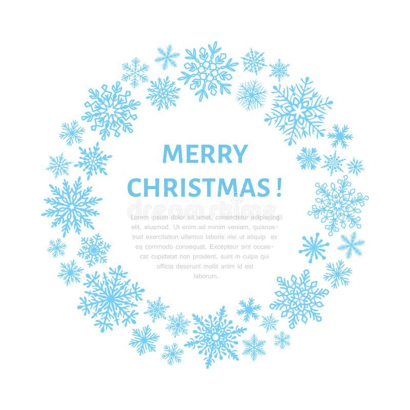 Śliczny płatka śniegu plakat, sztandar Sezonów powitania Płaskie śnieżne ikony, opad śniegu Ładni płatki śniegu dla boże narodzen ilustracji