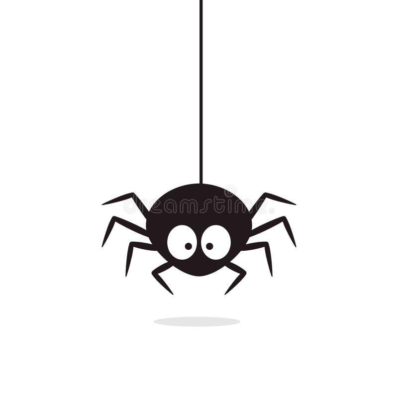 Śliczny pająka obwieszenie na pajęczynie Halloweenowy charakter royalty ilustracja