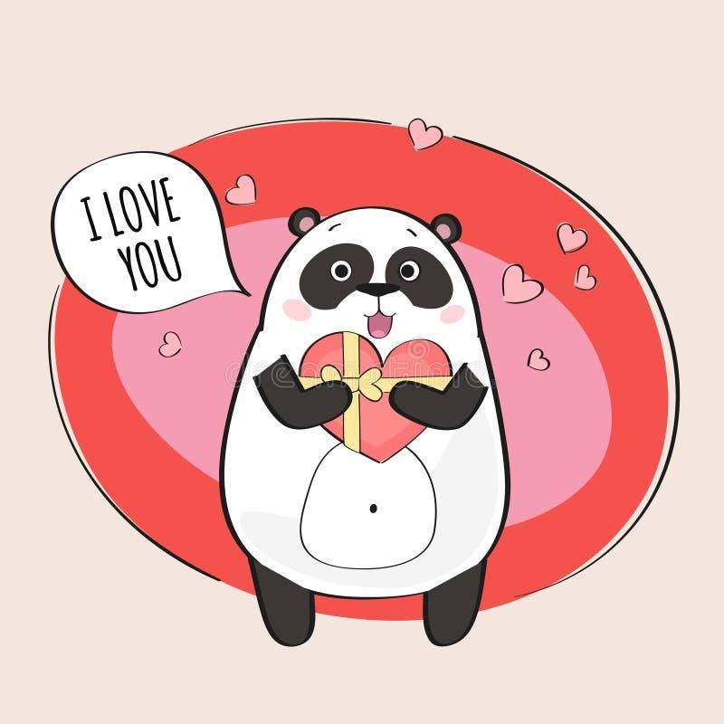 Śliczny panda charakter ilustracja wektor