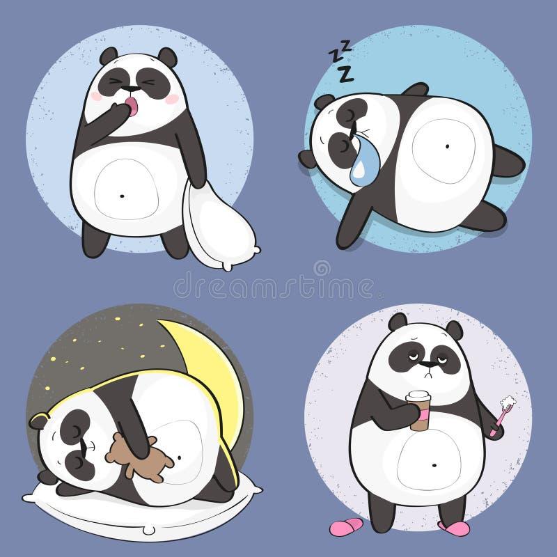 Śliczny panda charakter z różnymi emocjami ilustracji