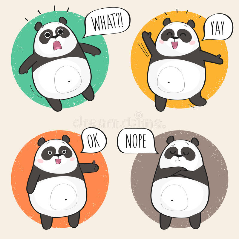 Śliczny panda charakter z różnymi emocjami ilustracja wektor