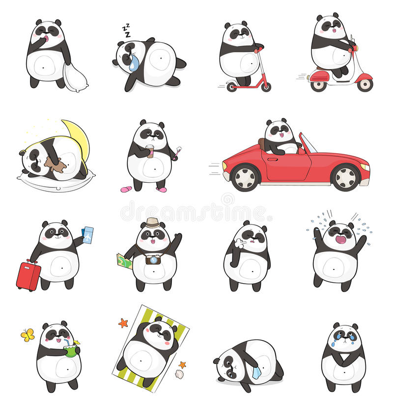 Śliczny panda charakter z różnymi emocjami royalty ilustracja