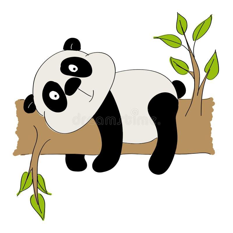 Śliczny panda niedźwiedź kłama na gałąź ilustracji