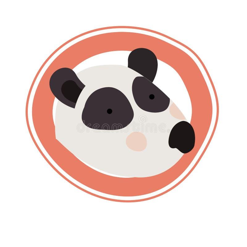 Śliczny panda niedźwiedź z kurendy ramą royalty ilustracja
