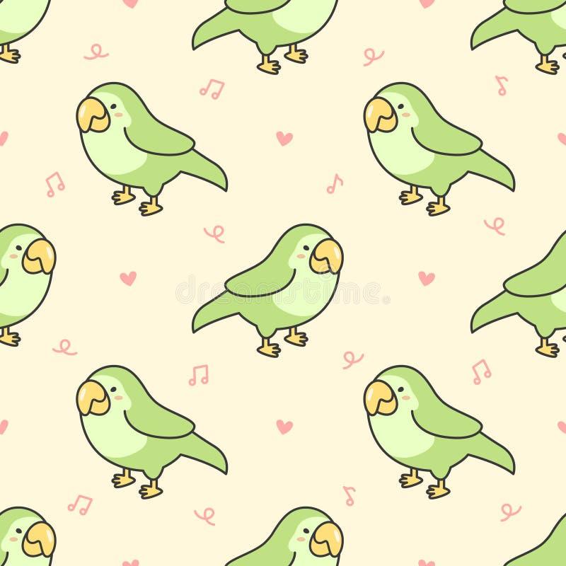 Śliczny papuzi ptasi Bezszwowy Deseniowy tło ilustracja wektor