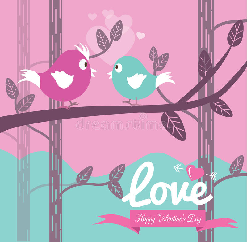 Śliczny para ptak w miłości. ilustracja wektor