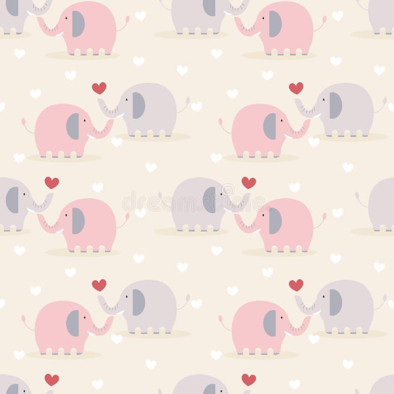 Śliczny para słoń w miłość bezszwowym wzorze royalty ilustracja