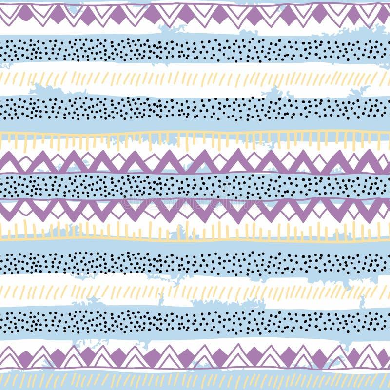 Śliczny pasiasty bezszwowy wzór Błękita, purpur, beżowego i czarnego ele, ilustracji