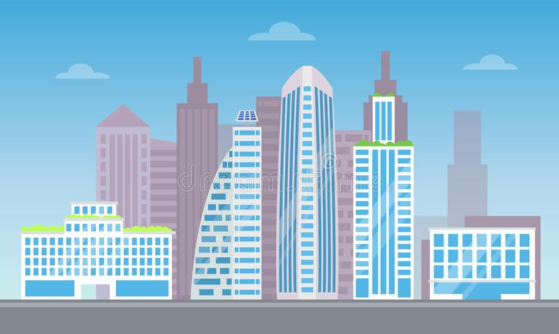 Śliczny pejzaż miejski z setem Dosyć Nowożytni budynki ilustracji