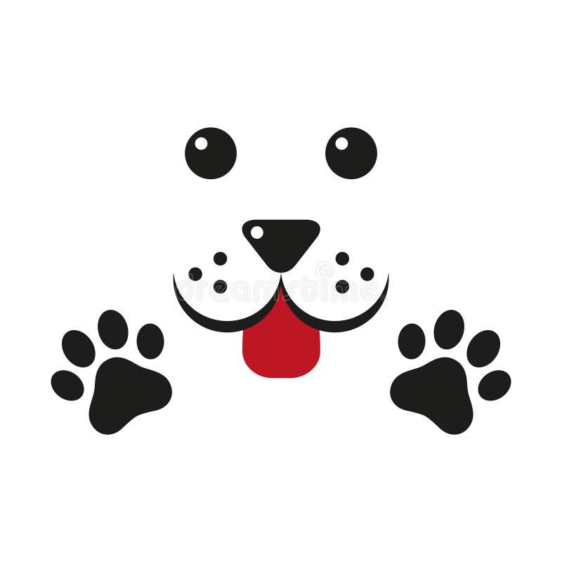 Śliczny pies, łapa - logo, symbol, gacenie znak ilustracja wektor