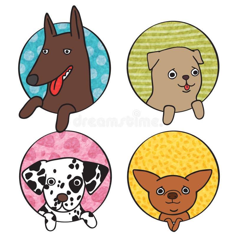 Śliczny pies ikony set ilustracja wektor