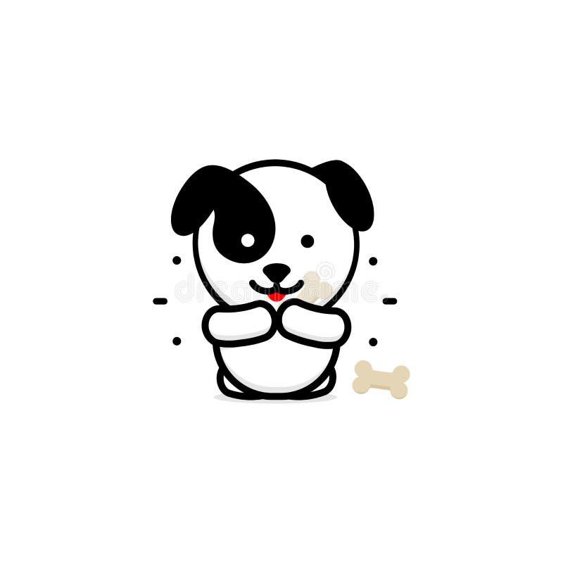 Śliczny pies Je Obiadową wektorową ilustrację, dziecko szczeniaka logo, nowa projekt sztuka, zwierzęcia domowego jedzenia czerni  royalty ilustracja