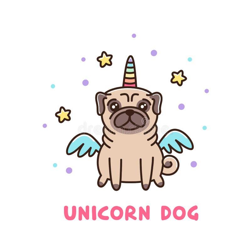 Śliczny pies mopsa traken w jednorożec kostiumu ilustracja wektor