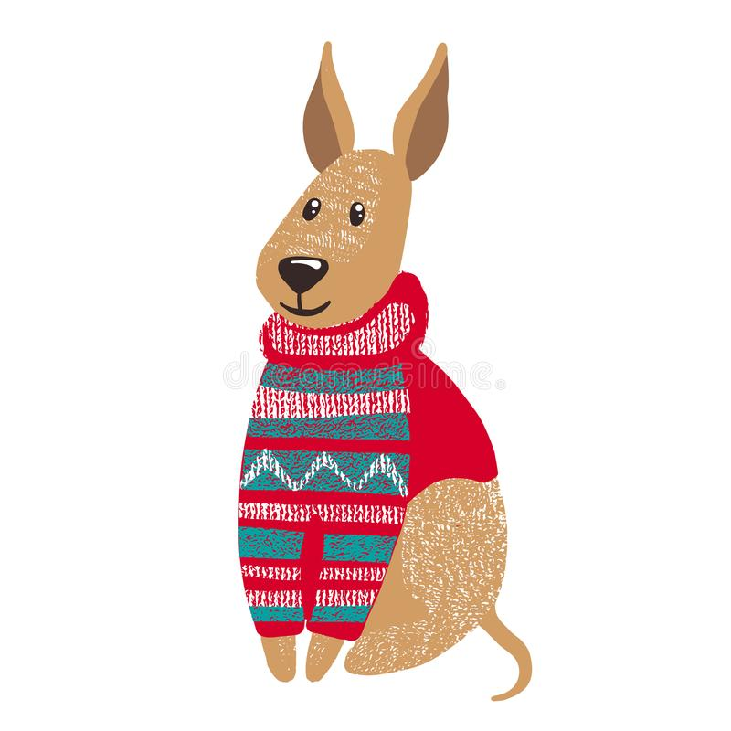 Śliczny pies w ciepłym zima pulowerze royalty ilustracja