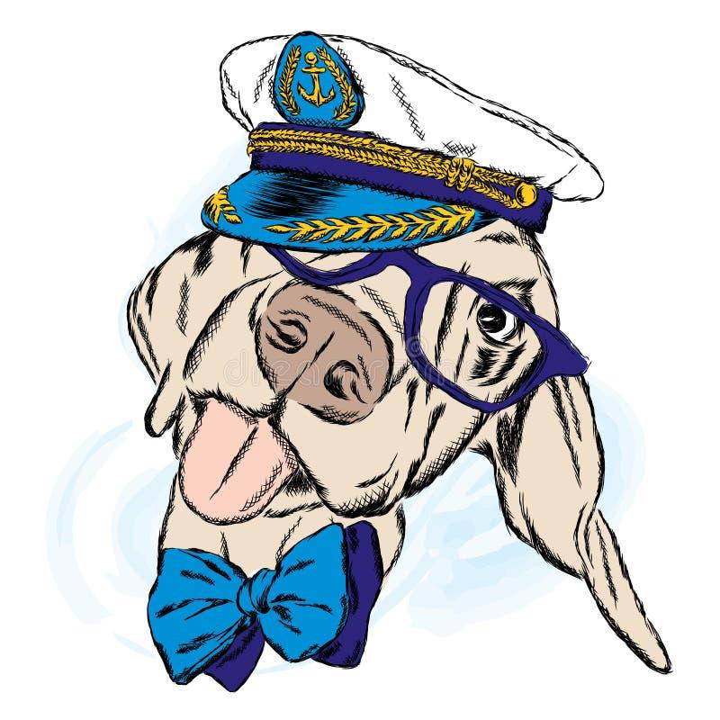 Śliczny pies w kapitanu ` s nakrętce kapitany ilustracja wektor