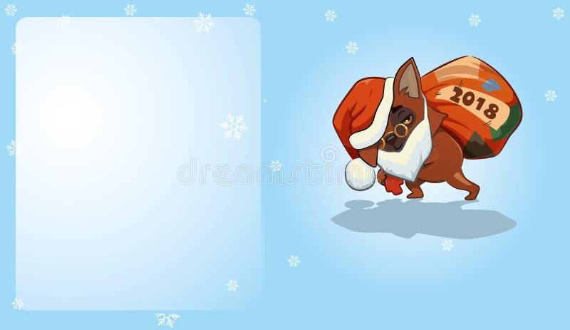 Śliczny pies w Santa kostiumu na błękitnym tle ilustracji