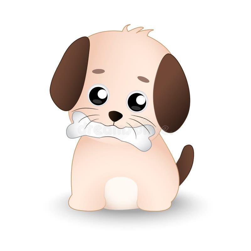 Śliczny pies z kością w jego usta obraz royalty free