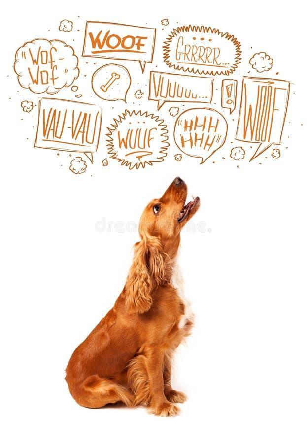 Śliczny pies z szczekanie bąblami ilustracja wektor