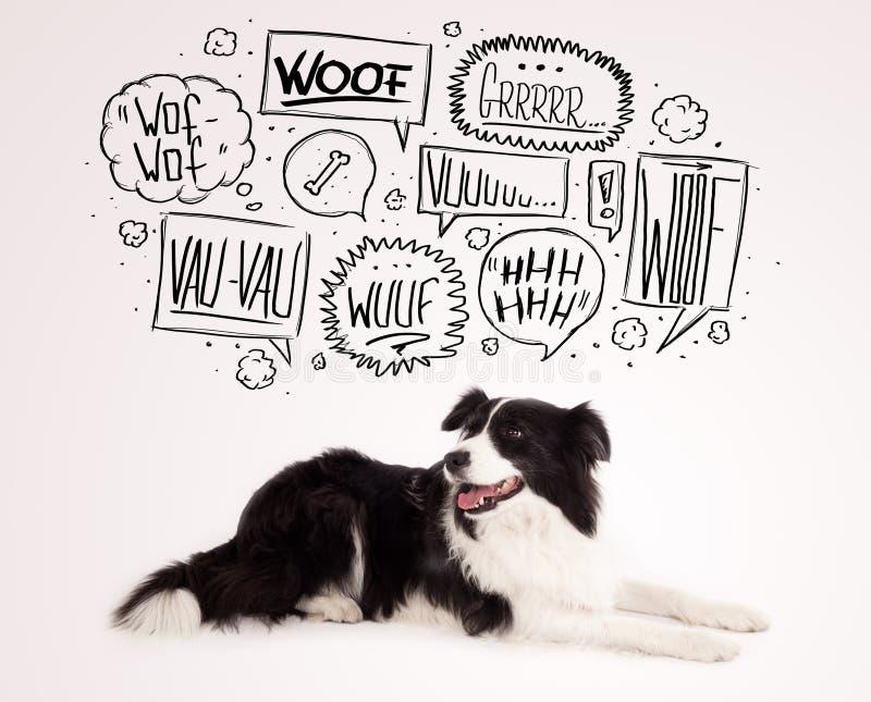 Śliczny pies z szczekanie bąblami ilustracji