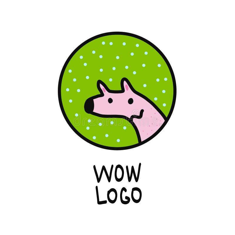 Śliczny pies zieleni, menchii logo dla i ilustracja wektor