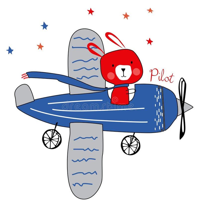Śliczny pilotowy królik na samolocie ilustracja wektor