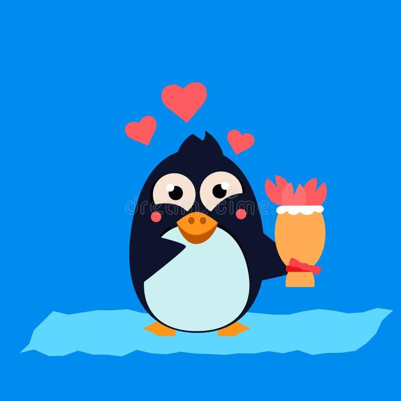 Śliczny pingwin na górze lodowa z kwiatami wektor ilustracji