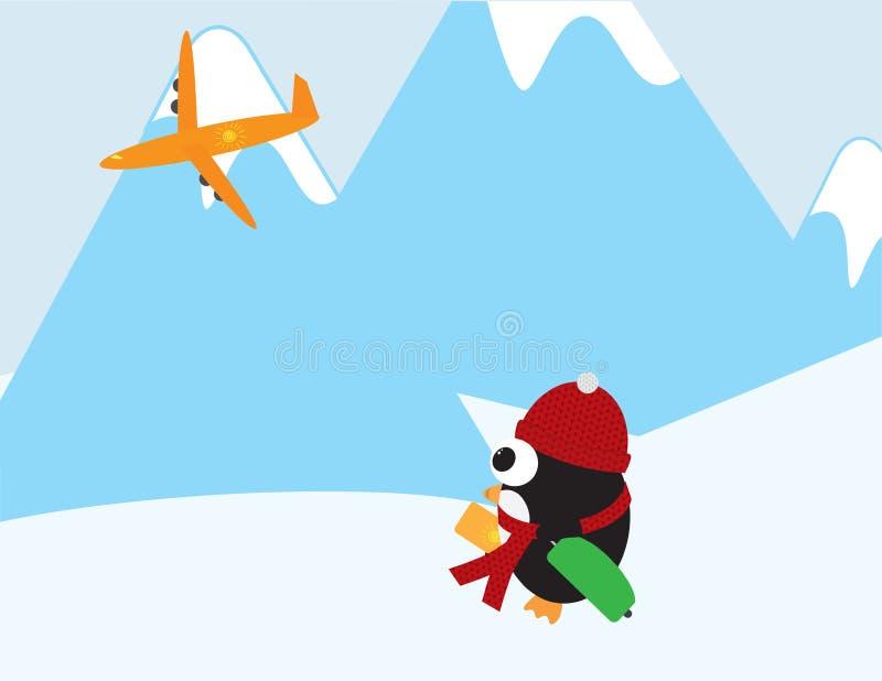 Śliczny pingwin patrzeje samolot z Czerwonym beanie, szalikiem i zieleni walizką ilustracji